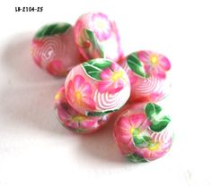 Pink Flower Beads Coin Jewelry Making Supplies Handmade Polymer Clay  | bluemorningexpressions - Jewelry Supplies on Art