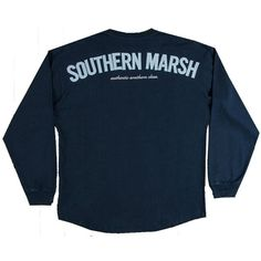 Southern Marsh Rebecca Jersey Longsleeve T-shirt ($43) ❤ liked on Polyvore featuring tops, t-shirts, blue top, long sleeve t shirt, jersey long sleeve t shirts, jersey t shirts and long sleeve tee