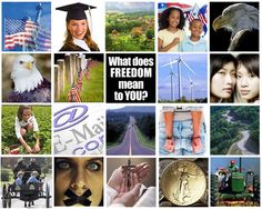 Every year for the 4th of July we like to ask readers to search the web and gather thumbnails of images that will symbolize what Freedom means to you.  Here's mine, can you guess what they are?   Best submitted art montages win prizes and an article in DTG !!!