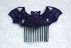 Gothic Lolita Pastel Goth Lace Bat Hair Comb on by CreepyKawaii12, $9.99