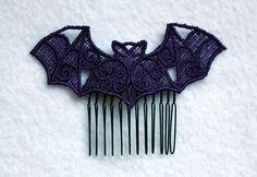 Gothic Lolita Pastel Goth Lace Bat Hair Comb on by CreepyKawaii12, $9.99
