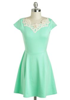 Akin to Audrey Dress - Pastel, Short, Mint, Tan / Cream, Solid, Crochet, Pearls, A-line, Cap Sleeves, Daytime Party, Spring, Rhinestones, Beads