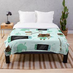 'Eucalyptus Fan Palm Finesse ' Throw Blanket by anitabellajantz Tropical Wall Decor, White Throw Blanket, White Throws, Tree Patterns, Winter Trees, Cozy Bedroom, Duvet, Bedding, Printed