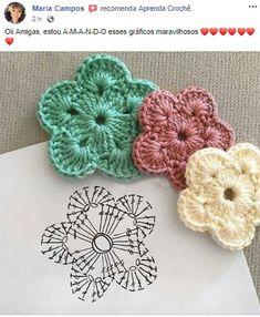Crochet Square Patterns, Crochet Motif, Easy Crochet, Crochet Flowers, Crochet Lace, Crochet Stitches, Crochet Shirt, Sewing Projects, Crochet Earrings