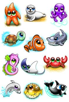 Cute and Fun Ocean Animal Temporary Tattoos All you favorite ocean animals turned into cute tattoos. A great summer series for a day at the beach or lounging by the pool. Series of 12 Tattoo designs i