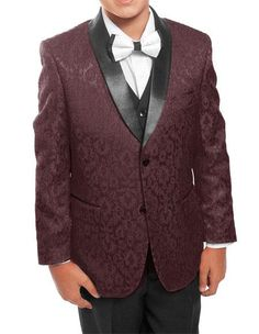 6ea4096ce18ec Product  GD1113 Kids ~ Children ~ Boys ~ Toddler Burgundy Black Tuxedo  Vested Suit