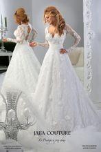 Muçulmano Pescoço V Apliques Agradável Padrão de Renda Oco Voltar Estilo Árabe Mangas Compridas Vestidos de Casamento Dubai Paquistão Vestidos de Noiva(China (Mainland))