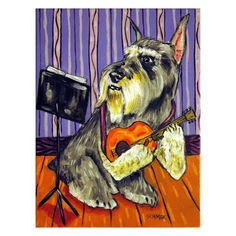 Schnauzer Playing Guitar Dog Art Print by lulunjay on Etsy, $17.99