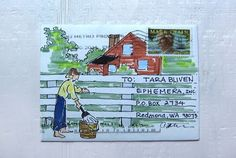 Mark Twain envelope by Catherine Peterson for The Elevated Envelope mail art exchange.