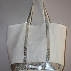Cabas en lin blanc avec paillettes grises blanches taille3