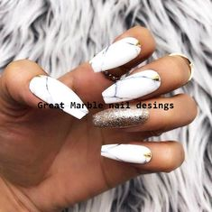Nails colors Black White Marble Gold Foil Leaf/Studs Press On Nails Marble Nail Designs, Fall Nail Designs, Acrylic Nail Designs, Gold Nails, Matte Nails, Black Nails, Black Marble Nails, White Nails With Gold, Marble Acrylic Nails