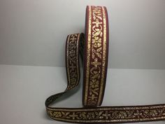 +++10m  BURGUNDY/GOLD JACQUARD RIBBON++CROSS++MEDIEVAL