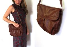 vintage purse leather 1970s soft brown by diaphanousvintage