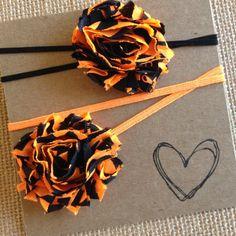 HaLLoWEen Mini Shabby Flower Headband  Orange and by HipAndHail, $3.00