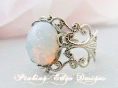 Opal Ring Opal Jewelry Silver Opal Rings by pinkingedgedesigns, $19.00