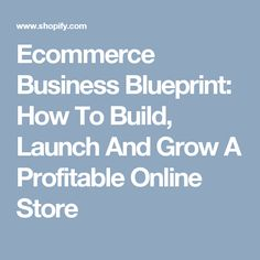 Ecommerce Business Blueprint: How To Build, Launch And Grow A Profitable Online Store