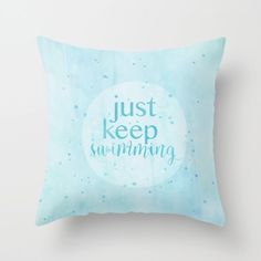 just keep swimming finding nemo pixar disney inspirational quote  pillow with insert by studiomarshallgifts on Etsy