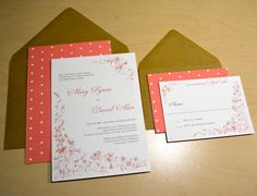 Coral Wedding Invitations with floral vine corner accents by Lucky Invitations.  #coral #kraft