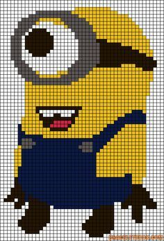 Despicable me Minion perler bead pattern. I feel like I could turn this into a quilt pattern! Minion Crochet Patterns, Minion Pattern, Cross Stitch Baby, Cross Stitch Patterns, Crochet Pixel, Graph Crochet, Minion Baby, Alpha Patterns, Canvas Patterns