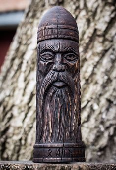 Wooden rune Box, Odin statue, Futarkh, Viking, Woodcarving, Scandinavian Idol Norse Asatru Pagan, Art Wood Carving Hand Made Decor by esotericmarket on Etsy https://www.etsy.com/listing/582024405/wooden-rune-box-odin-statue-futarkh