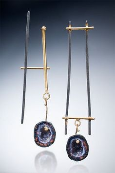 Asymmetrical Earrings with Small Geode by Nina Mann: Gold, Silver & Stone Earrings available at www.artfulhome.com