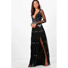Boohoo Tall Tania Boutique Plunge Star Beaded Maxi Dress ($52) ❤ liked on Polyvore featuring dresses, white plunge dress, star maxi dress, star patterned dress, star print maxi dress and maxi length dresses