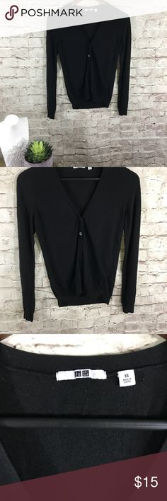 Uniqlo black cardigan When simplicity meets style! Match with anything, perfect black long sleeve cardigan with buttons. Size XS Uniqlo Sweaters Cardigans