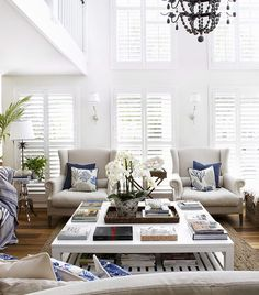A clear vision turned a waterside home into an elegant Hamptons-style family abode – learn how this interior designer worked her magic. Home And Living, Hamptons House, Interior Design, House Interior, Home, Cute Living Room, Hamptons Style Homes, Hamptons Style Living Room, Living Room Designs