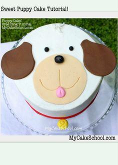 Cute Puppy Cake Decorating Tutorial by MyCakeSchool.com! Online Cake Tutorials, Cake Videos, and Recipes! Free tutorial!