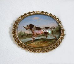 Victorian Antique Reverse Painted Dog Brooch - The Three Graces