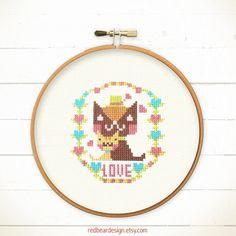 Cat cross stitch patterns  Happy Cats Together by redbeardesign