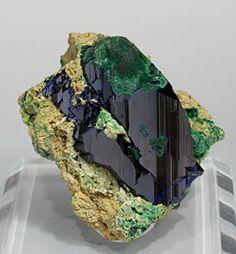 Azurite with Bayldonite and Malachite.