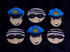 One Dozen Fondant Cupcake Toppers  Cops and by EyeCandySugar, $18.00