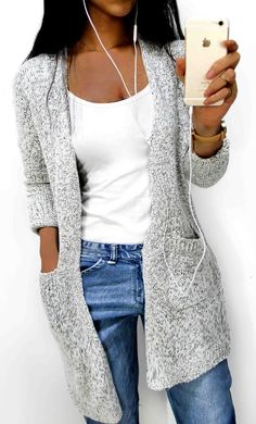 Start from $33.99 ! High-quality with low price. Women's Going out Street chic Long Solid Gray V Neck Long Sleeve Cotton Spring / Fall Medium Sweaters Cardigan is a total must-have this fall for any fashionista! That style is so in and the color too! Collect more now at ChicNico.com