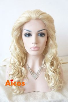 Handmade Hot Blonde Long Wavy Heat Resistant Synthetic Hair Lace Front Wigs #Aicos #FullWig
