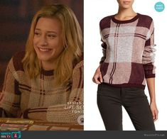 Betty's burgundy plaid sweater on Riverdale.  Outfit Details: https://wornontv.net/93186/ #Riverdale