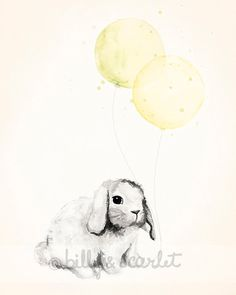 Yellow Nursery Art Decor -  8x10 Print for Baby Boy or Girl, Watercolour Illustration of Bunny Rabbit and Balloons on Etsy, $20.00