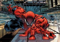 spiderman crawls up wall in city