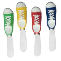 """Sneaker Spreader Set of 4 by Supreme Housewares. $9.95. Includes: 4-Sneaker Spreader. Handle: Hand Painted Resin. Material: Stainless Steel Blade. Care and Clean: Hand wash only. Dimension: 5"""" length. With cute and creative design, give the perfect accent to any table. They are perfect for gift baskets or simply for your own personal use! Provide decorative theme and variety to your table. We have so many patterns for you to choose from, come to pick them for home ente..."""