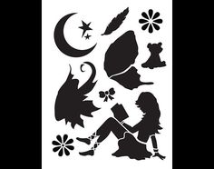 "Reading Fairy Art Stencil - 8.5"" x 11"" - STCL883_1 - by StudioR12"
