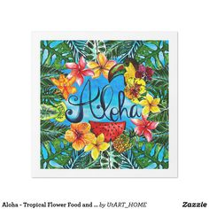 Aloha - Tropical Flower Food and Summer Design Paper Dinner Napkin
