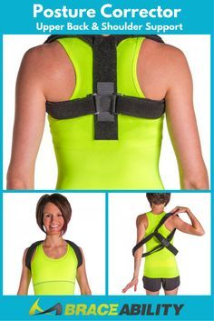 Posture Corrector Upper Back & Shoulder Support - This support is made of breathable and lightweight material, latex free nylon and polyester. It helps to provide your upper back with a customizable amount of tension. The completely customizable brace will allow you to achieve good posture while wearing a brace that actually fits. | BraceAbility