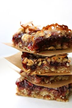 Raspberry Coconut Oatmeal Bars...change the butter to earth balance for a vegan option