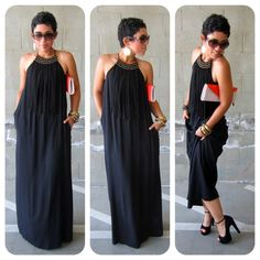 Fashion, Lifestyle, and DIY: Sexy + Comfy: Black Zara Dress Look Fashion, Diy Fashion, Womens Fashion, Do It Yourself Fashion, Maxi Robes, Looks Vintage, Love Her Style, Zara Dresses, Mode Style
