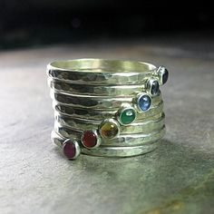 7 Chakras Stacking Rings sterling silver gemstone stackable chakra rings hammered yoga jewelry USD) by LavenderCottage Yoga Jewelry, Jewelry Rings, Silver Jewelry, Skull Jewelry, Hippie Jewelry, Tribal Jewelry, Indian Jewelry, Jewlery, 7 Chakras