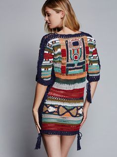 Sybilla Dress | This retro-inspired short sleeve multi-colored crochet dress…