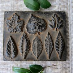 LEAF PLAQUE Cast Black Beeswax Primitive Very Detailed Ornament. $11.00, via Etsy.