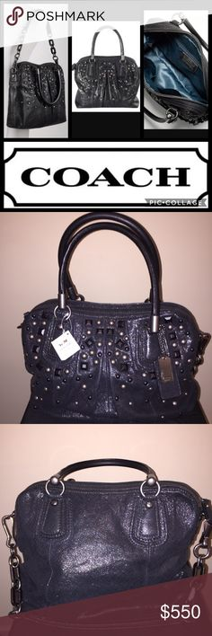 """🆕🎁 COACH """"Kristin"""" Black Studded Leather Bag NWT COACH """"Kristin"""" Black Studded Pleated Leather Handbag Shoulder Bag  New With Tags MSRP: $598.00 Plus Tax Black Crackled Metallic Leather & Intricate Stud Design  Measures 12.5"""" (L) x 12"""" (H) x 4"""" (D) Double Rolled Handles With 6.5"""" Drop  Two Hangtags Detachable Shoulder Strap With 10.5"""" Drop Fully Lined Black Interior Features Coach Creed, One Zippered Pocket & Two Slip Pockets 🎁 Perfect Gift 🎁; Includes COACH Gift Bag Or Box, Tissue…"""