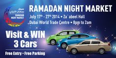 Ramadan Night Market returns this July!!  17th -27th July 2014, Za'abeel Hall, Dubai World Trade Centre from 8pm -2am.  Free Entry and Free Parking!!  For more details visit our website:   http://www.ramadannightmarket.com/visitors/  OR  Like our FB pg:  https://www.facebook.com/RamadanNightMarket