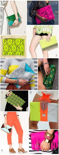 Colorful Clutch Bags: Neon, Pastel, Envelope & Oversized via Thrifted & Modern Blog